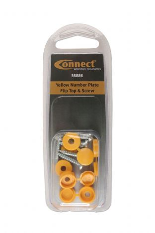 Connect 36886 Yellow Number Plate Flip Top & Screw Pk 5